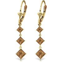 Citrine Three Stone Drop Earrings 4.79 ctw in 9ct Gold - Jewellery Gifts