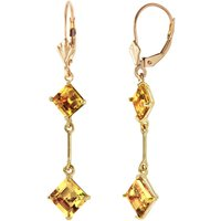 Citrine Two Tier Drop Earrings 3.75 ctw in 9ct Gold - Jewellery Gifts