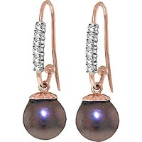 Diamond & Black Pearl Drop Earrings in 9ct Rose Gold - Fish Gifts