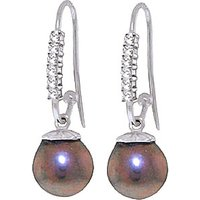 Diamond & Black Pearl Drop Earrings in 9ct White Gold - Black Gifts