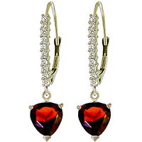Diamond & Garnet Laced Drop Earrings in 9ct White Gold - Love Gifts