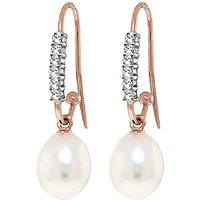 Diamond & Pearl Drop Earrings in 9ct Rose Gold - Fish Gifts