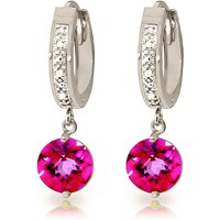 Diamond & Pink Topaz Huggie Earrings in 9ct White Gold - Pink Gifts
