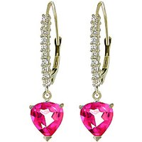 Diamond & Pink Topaz Laced Drop Earrings in 9ct White Gold - Pink Gifts