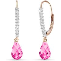 Diamond & Pink Topaz Laced Stem Drop Earrings in 9ct Rose Gold - Pink Gifts