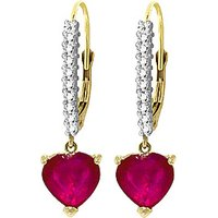 Diamond & Ruby Laced Drop Earrings in 9ct Gold - Love Gifts