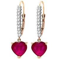 Diamond & Ruby Laced Drop Earrings in 9ct Rose Gold - Love Gifts