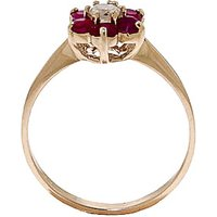 Image of Diamond & Ruby Wildflower Cluster Ring in 9ct Gold