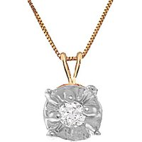 Diamond Illusion Set Pendant Necklace 0.03 ct in 9ct Gold