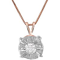 Diamond Illusion Set Pendant Necklace 0.03 ct in 9ct Rose Gold