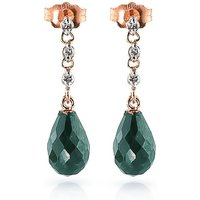 Emerald and Diamond Chain Droplet Earrings in 9ct Rose Gold