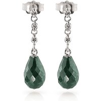 Emerald and Diamond Chain Droplet Earrings in 9ct White Gold