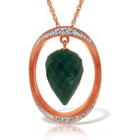 Emerald & Diamond Drop Pendant Necklace in 9ct Rose Gold - Qp Jewellers Gifts