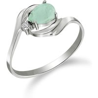 Emerald and Diamond Flare Ring in 9ct White Gold
