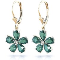Emerald & Diamond Flower Petal Drop Earrings in 9ct Gold - Flower Gifts