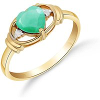 Emerald & Diamond Halo Heart Ring in 9ct Gold - Halo Gifts