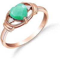 Emerald and Diamond Halo Heart Ring in 18ct Rose Gold