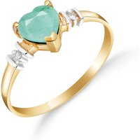 Emerald and Diamond Heart Ring in 9ct Gold
