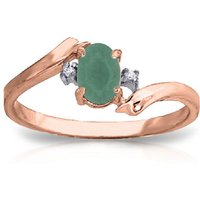 Emerald and Diamond Ring in 9ct Rose Gold