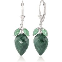 Emerald Briolette Drop Earrings 26.8 ctw in 9ct White Gold