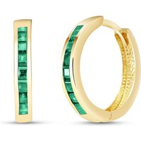 Image of Emerald Huggie Earrings 1.85 ctw in 9ct Gold