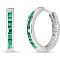 Image of Emerald Huggie Earrings 1.85 ctw in 9ct White Gold