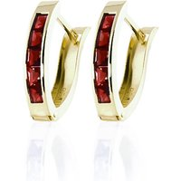 Garnet Acute Huggie Earrings 1.3 Ctw In 9ct Gold