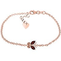 Garnet and Citrine Adjustable Butterfly Bracelet in 9ct Rose Gold