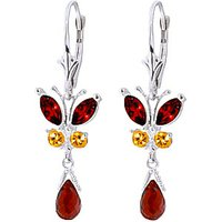 Garnet & Citrine Butterfly Drop Earrings in 9ct White Gold - Butterfly Gifts