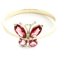 Garnet & Citrine Butterfly Ring in 9ct Gold - Fashion Gifts
