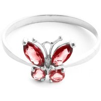 Garnet and Citrine Butterfly Ring in 9ct White Gold