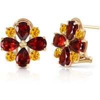 Garnet & Citrine Sunflower Stud French Clip Earrings in 9ct Gold - French Gifts