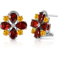 Garnet & Citrine Sunflower Stud French Clip Earrings in 9ct White Gold - French Gifts