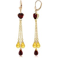 Garnet and Citrine Vestige Drop Earrings in 9ct Gold