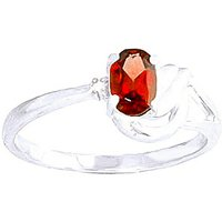 Garnet and Diamond Angel Ring in 9ct White Gold