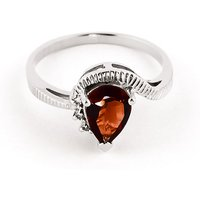 Garnet and Diamond Belle Ring in 9ct White Gold