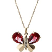 Garnet & Diamond Butterfly Pendant Necklace in 9ct Rose Gold - Fashion Gifts