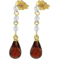 Garnet and Diamond Chain Droplet Earrings in 9ct Gold