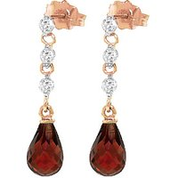 Garnet and Diamond Chain Droplet Earrings in 9ct Rose Gold