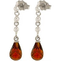 Garnet and Diamond Chain Droplet Earrings in 9ct White Gold