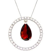Garnet & Diamond Circle of Life Pendant Necklace in 9ct White Gold - Life Gifts