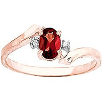 Garnet and Diamond Embrace Ring in 9ct Rose Gold