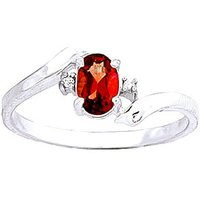 Garnet and Diamond Embrace Ring in 9ct White Gold
