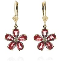 Garnet & Diamond Flower Petal Drop Earrings in 9ct Gold - Flower Gifts