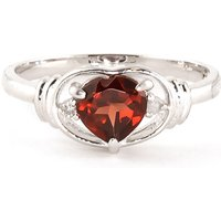 Garnet and Diamond Halo Heart Ring in 9ct White Gold
