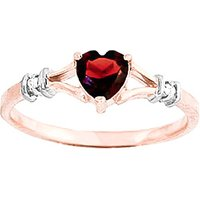 Garnet and Diamond Heart Ring in 9ct Rose Gold