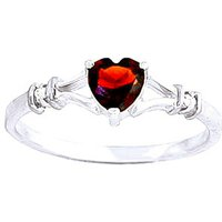 Garnet and Diamond Heart Ring in 9ct White Gold