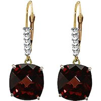 Garnet & Diamond Rococo Drop Earrings in 9ct Gold - Cushion Gifts