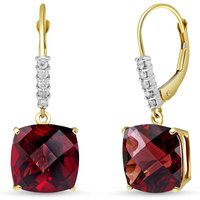 Garnet & Diamond Rococo Drop Earrings in 9ct Gold - Cushion Gifts