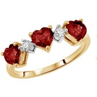 Garnet and Diamond Three Hearts Ring 1.75 ctw in 9ct Gold